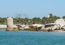 Egmont Key ruins in water