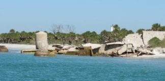 Egmont Key ruins in water