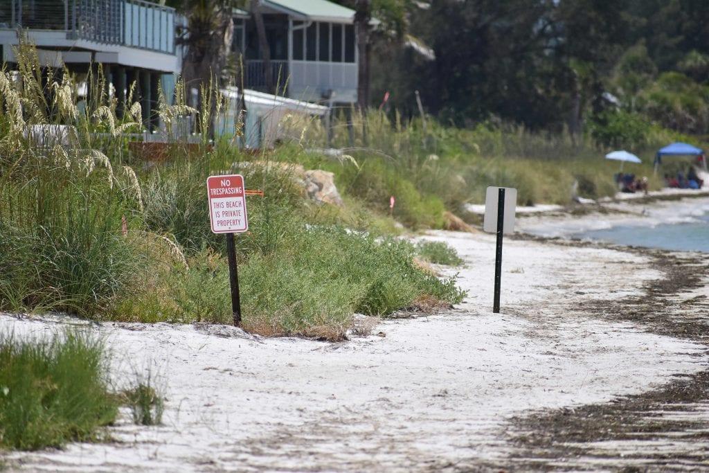 Beach No Trespassing signs