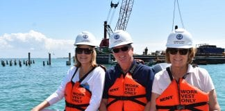 County commissioners tour pier construction site