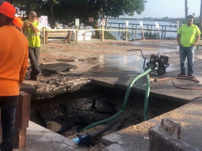 Water line broken during undergrounding work
