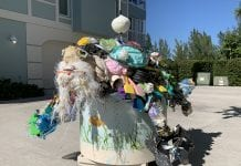 Sculpture illustrates local trash problem